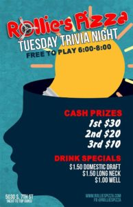 Rollie's Pizza Tuesday Trivia Night @ Rollie's Pizza